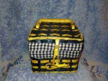 Panier à bijoux Vintage en osier et tissu à carreaux