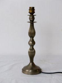 Pied lampe en métal argenté