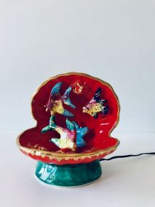 Lampe ou veilleuse en céramique Vallauris, coquillage et poi