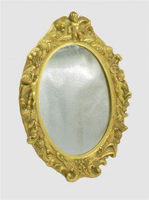 Miroir cadre doré angelots