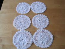 6 napperons 100 coton fait main au crochet de 12 cms