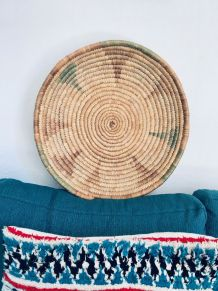 Grande panière bohème en bambou tissé