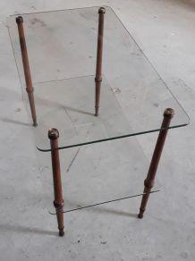 petite table basse en verre et bois 1960 tres bon etat h55x4