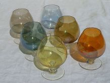 lot de 6 verres ballon en couleur , vintage