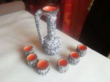 carafon  et 6 verres spiritueux FAT LAVA