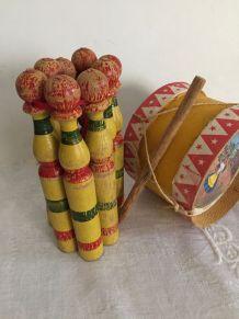 Ancien jeu de quilles, jouet en bois