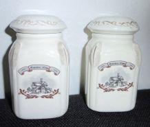 Lot de 2 petits pots à épices vintage céramique