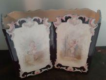 Ancienne jardinière en céramique  décoré d'anges