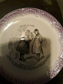 assiette Digoin  & Sarreguemines -Humoristique
