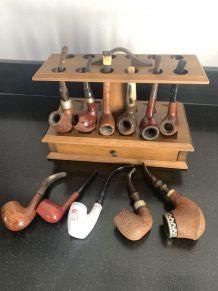 Présentoir bois pipes ancien porte pipe