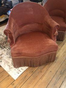 Paire de fauteuil crapaud rose poudré
