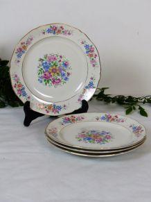 4 assiettes à dessert en porcelaine opaque