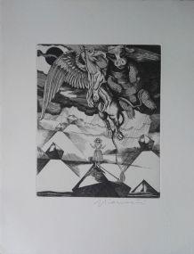 Gravure originale signée G. GIANNINI Alice au pays des M
