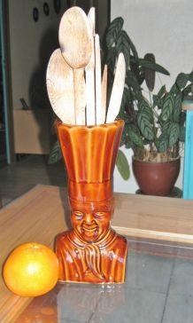 Pot d'Ustensile de Cuisine en Céramique Tete de Chef