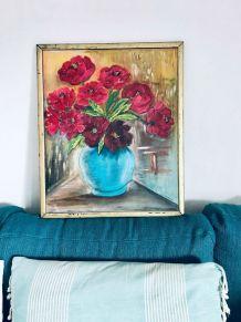 Peinture ancienne, nature morte bouquet de pivoines, huile s