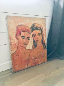 Peinture ancienne, portrait couple huile sur toile