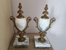 Cassolettes marbre et bronze