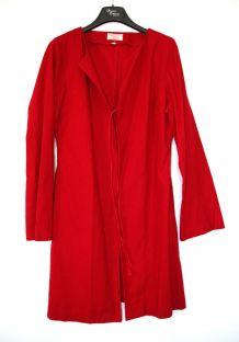 Veste longue rouge sans S de Style Taille 38 lin mélangé TBE