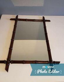 miroir bambou vintage en bois