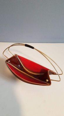 serviteur céramique avec poignée en métal doré vintage
