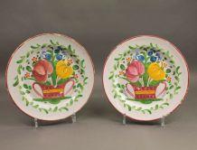 paire d'assiettes bouquet floral Islettes  XIXème siècle