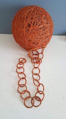 suspension boule orange corde et rotin vintage Audoux Minet