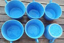 Lot de 6 grandes tasses à café en grès, vintage