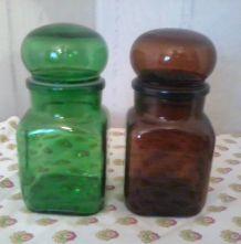 vintage années 1970 Pots en verre translucide coloris vert e