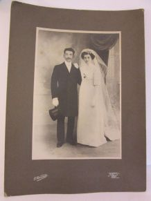 Photo mariage couple 1900 Belle Epoque Odinot Nancy