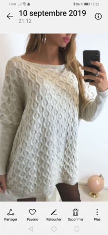 Pull coloris écru neuf taille 44/50