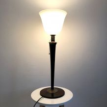 Lampe Mazda Art déco en Opaline et Palissandre