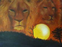 Tableau - Peinture a l'huile originale - Les lions