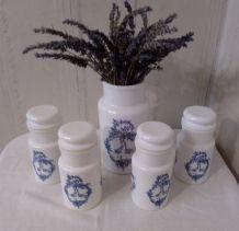 Lot de 5 pots vintage en opaline  des années