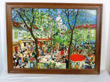 Huile sur panneau de bois thème Montmartre