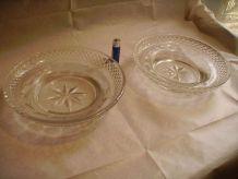 Paire de coupelles anciennes en cristal taillé
