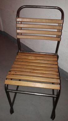 4 chaises indus. bois et fer / années 50