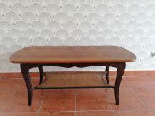table basse bois et cannage