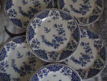 service de 6 assiettes bleu GIEN  table