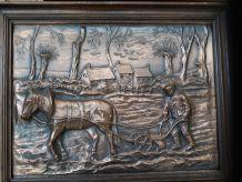 Tableaux champêtres cuivre bois