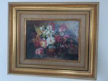 huile sur toile  signé . nature fleurs 1950/60