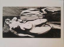 Superbe gravure originale Giovanni GIANNINI pour Edgar Poe