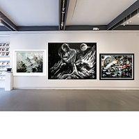 Lot de 3 pièce tableaux peintures abstrait