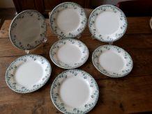 """7 assiettes plates Creil & Montereau de 1898, décor """" Physal"""
