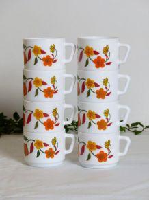 "Set de 8 tasses Arcopal ""Tulipe"""