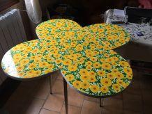 table fleur rabattable - formica décor fleur - vintage a