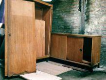 Buffet et armoire scolaire année 70