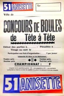 Affiche Petanque - Concours de Boules de Tête a Tête - Publi