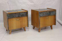 Paire de tables de chevet restaurée et relookée