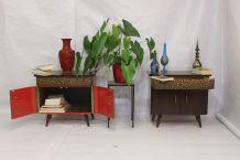 Paire de tables de chevet des années 50 60 restaurée