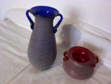 Ensemble de 2 vases granités argile extérieur bleu et rouge
